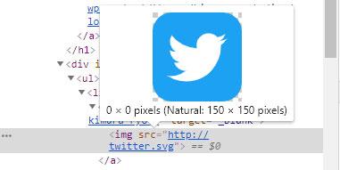choromeの開発者ツールでSVG画像のサイズを確認すると0×0 pixelとなっています